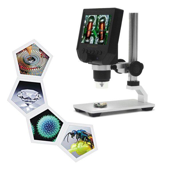 Microscópio Digital Portátil HD 1080p Display LCD 4.3P 600x Zoom 8x LEDs Brilho Ajustável Sup Micro SD Detecção Movimento Vídeo Fotos (BTO)