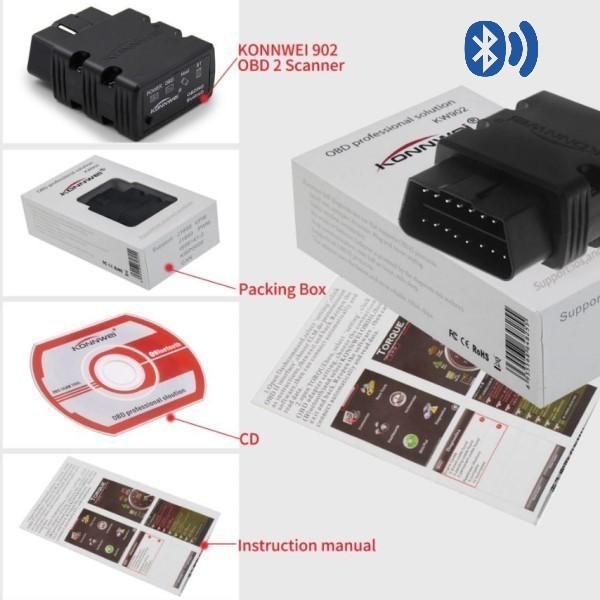 Mini Scanner Automotivo Profissional EOBD/OBD2 KONNWEI KW902 Bluetooth Para Veículos Com Motores Gasolina Diesel e Flex de 1996 Aos Atuais