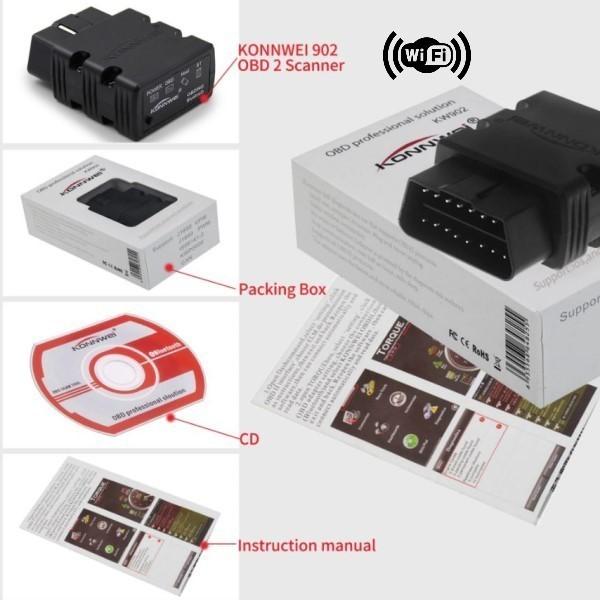 Mini Scanner Automotivo Profissional EOBD/OBD2 KONNWEI KW902 Wifi Para Veículos Com Motores Gasolina Diesel Flex de 1996 Aos Modelos Atuais