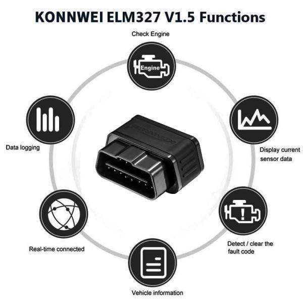 Mini Scanner Automotivo Profissional EOBD/OBD2 KONNWEI KW903 Wifi Para Veículos Com Motores Gasolina Diesel Flex de 1996 Aos Modelos Atuais