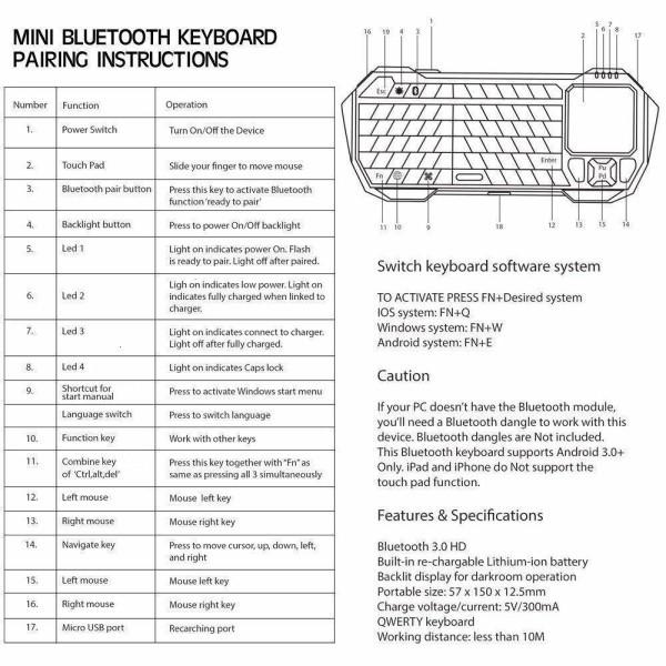 Mini Teclado 3 em 1 Bluetooth Sem Fio Para Desktop Laptop Tablet Smartphone Android iOS Smart TV Android TV Projetor e Outros Dispositivos