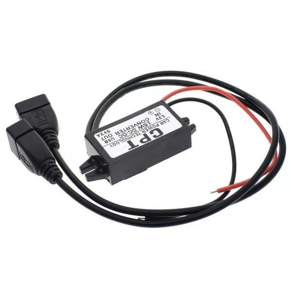 Módulo Conversor de Energia 12V Para 2x USB Fêmea 5V Carregador Automotivo Universal GPS Rastreadores Alarmes Proteção Automática