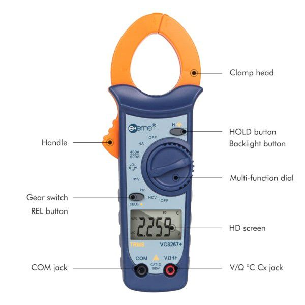 Multímetro Amperímetro Alicate Digital Profissional E-ONE VC3267+ Automático AC/DC Medidor Tensão Resistência Frequência Capacitância (BTO)