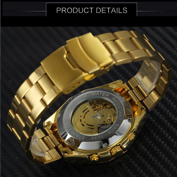 Relógio Masculino Forsining Pulseira Aço inoxidável Ouro CX Ouro FD Branco Esporte Militar Esqueleto Automático (BTO)