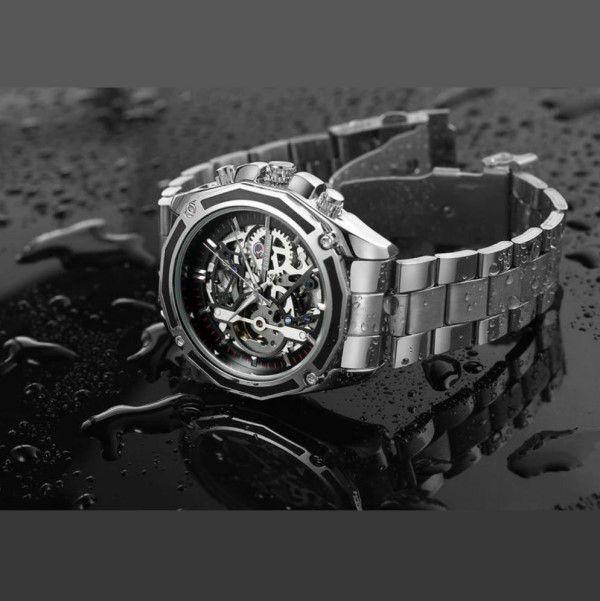 Relógio Masculino Forsining Pulseira Aço inoxidável Prata CX Prata FD Preto Esporte Militar Esqueleto Automático (BTO)