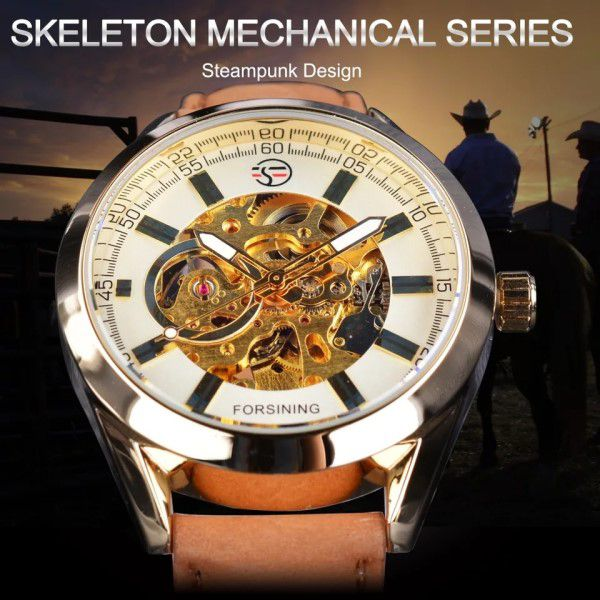 Relógio Masculino Forsining Pulseira Couro Marrom Caixa Ouro Fundo Ouro Esporte Cowboy Esqueleto Automático (BTO)