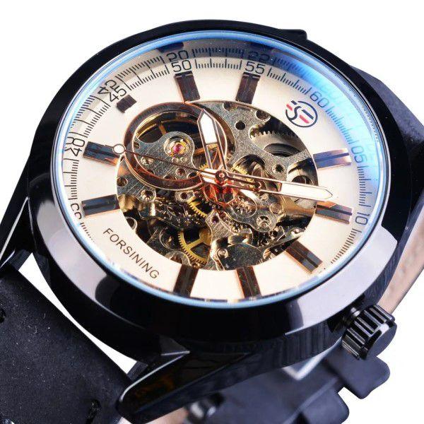 Relógio Masculino Forsining Pulseira Couro Preto Caixa Preto Fundo Ouro Esporte Cowboy Esqueleto Automático (BTO)