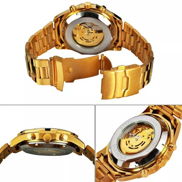 Relógio Masculino Forsining Pulseira Aço inoxidável Ouro CX Ouro FD Branco Esporte Militar Esqueleto Analógico Automático (BTO)