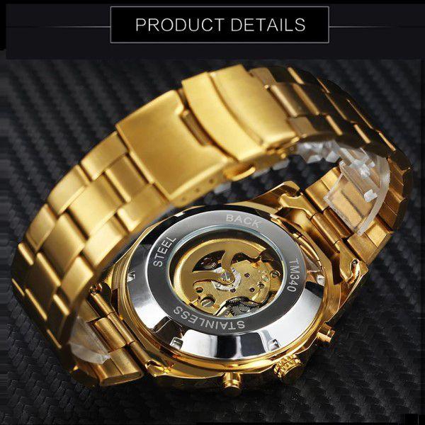 Relógio Masculino Forsining Pulseira Aço inoxidável Ouro CX Ouro FD Preto Esporte Militar Esqueleto Analógico Automático (BTO)