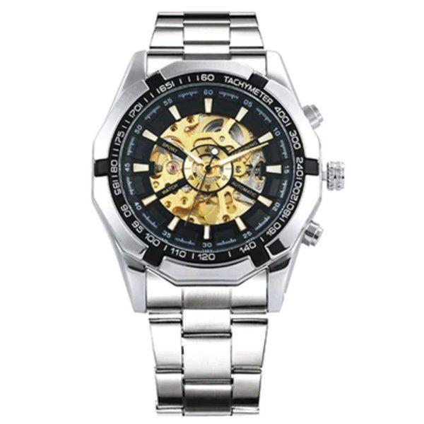 Relógio Masculino Forsining Pulseira Aço inoxidável Prata CX Prata FD Ouro Esporte Militar Esqueleto Analógico Automático (BTO)