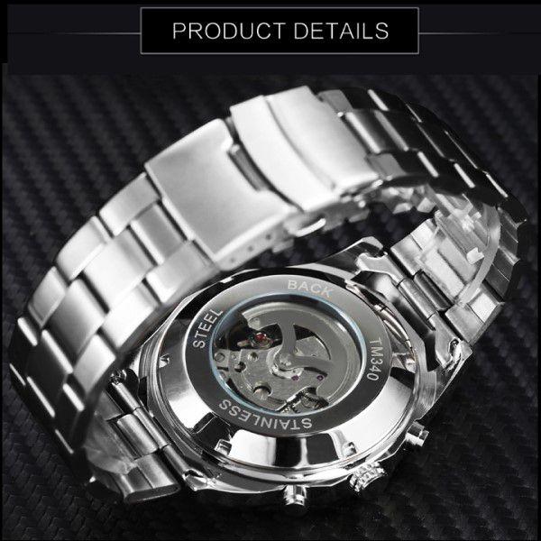 Relógio Masculino Forsining Pulseira Aço inoxidável Prata CX Prata FD Preto Esporte Militar Esqueleto Analógico Automático (BTO)