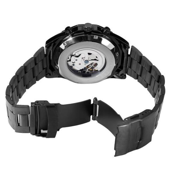 Relógio Masculino Forsining Pulseira Aço inoxidável Preto CX Preto FD Branco Esporte Militar Esqueleto Analógico Automático (BTO)