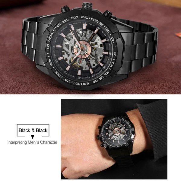 Relógio Masculino Forsining Pulseira Aço inoxidável Preto CX Preto FD Prata Esporte Militar Esqueleto Analógico Automático (BTO)