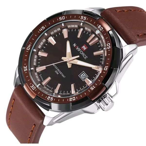 Relógio Masculino Naviforce Quartzo Pulseira de Couro Genuíno Marrom Caixa Prata Moda Esporte Militar (BTO)