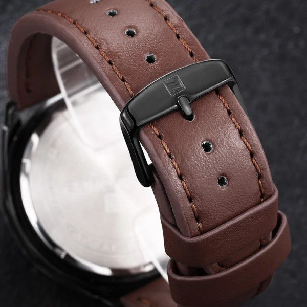 Relógio Masculino Naviforce Quartzo Pulseira de Couro Marrom Caixa Preta Moda Esporte (BTO)