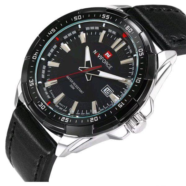 Relógio Masculino Naviforce Quartzo Pulseira de Couro Genuíno Preto Caixa Prata Moda Esporte Militar (BTO)