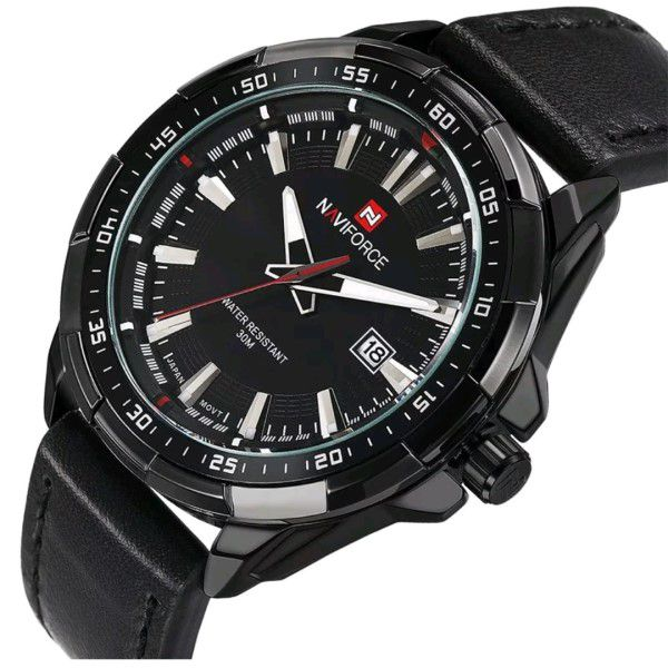 Relógio Masculino Naviforce Quartzo Pulseira de Couro Genuíno Preto Caixa Preta Moda Esporte Militar (BTO)