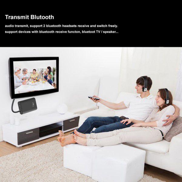 Transmissor e Receptor de Áudio Bluetooth  2 em 1 Cancelamento de Eco e Ruído Ativo Bateria Recarregável Conexão Fácil Sem App e Driver
