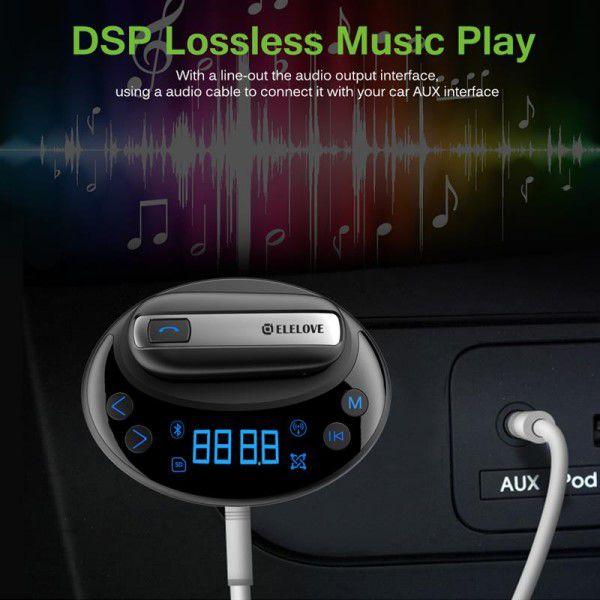 Transmissor FM Leitor MP3 Automotivo Carregador 2x USB + Fone de Ouvido Bluetooth 4.0 A2DP Handsfree