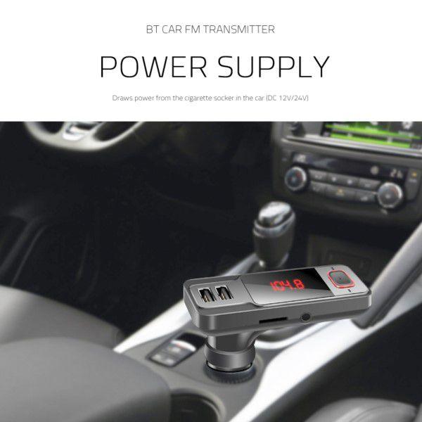 Transmissor Fm Leitor Mp3 Bluetooth Veicular Carregador 2x Usb Cabo de Áudio 3.5MM Controle Remoto