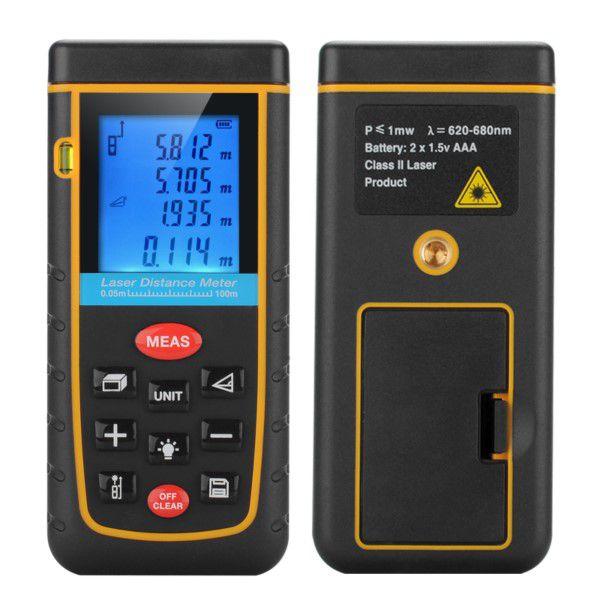 Trena Digital Laser Profissional Display LCD de 0,05 a 100M Distância Nível Área e Volume Suporta Tripé Bolsa de Cinto (BTO)
