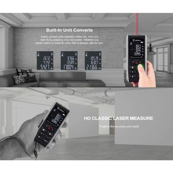 Trena Digital Laser Profissional 0,05 a 100M Display LCD Retroiluminado Distância Área Volume Teorema de Pitágoras (BTO)