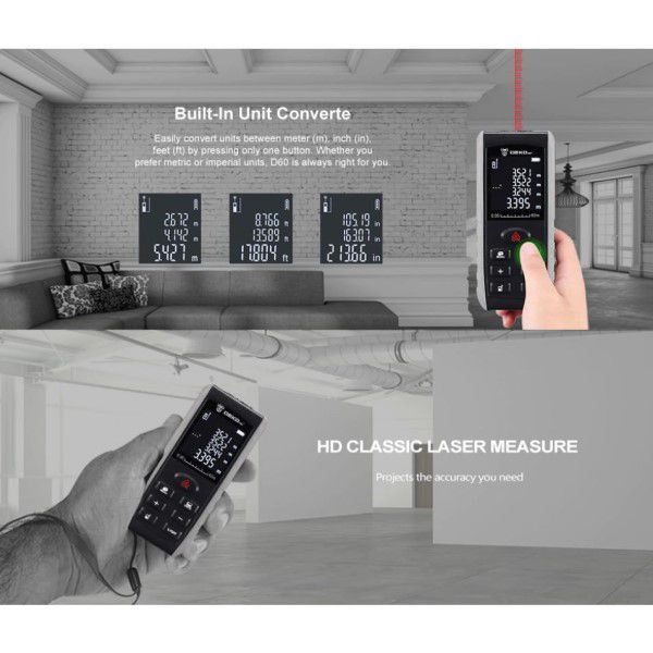 Trena Digital Laser Profissional 0,05 a 70M Display LCD Retroiluminado Distância Área Volume Teorema de Pitágoras (BTO)