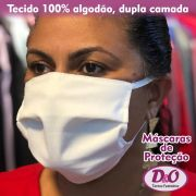 10 unids. – Máscara em tecido Tricoline 100% algodão (laváveis) com 2 camadas