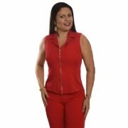 Conjunto Feminino Colete com zíper frontal e Calça - Vermelho