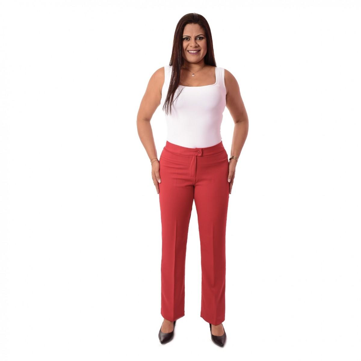 Calça Social Feminina Longa - Vermelha