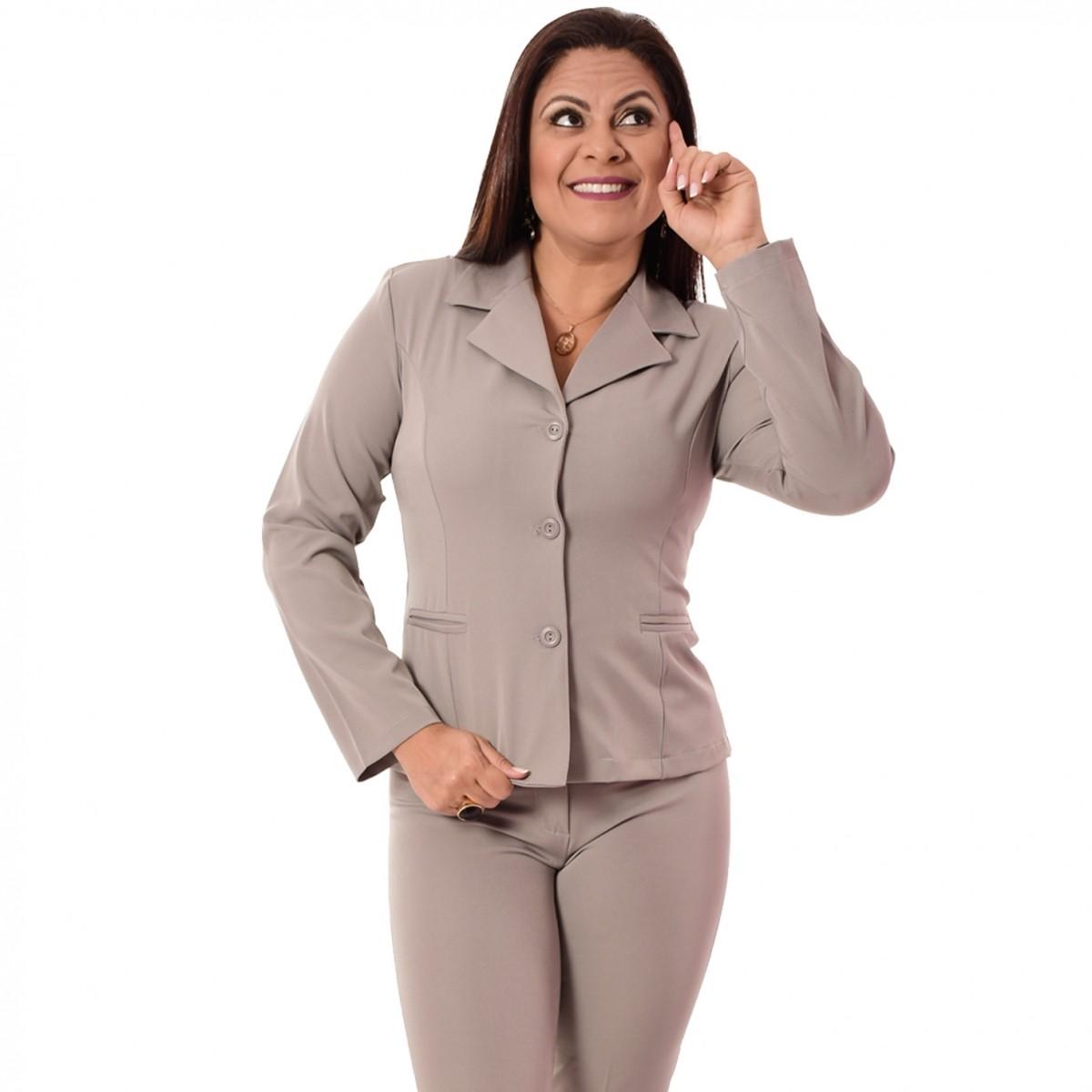 Conjunto Feminino Blazer sem forro, 3 botões com Calça - Cinza