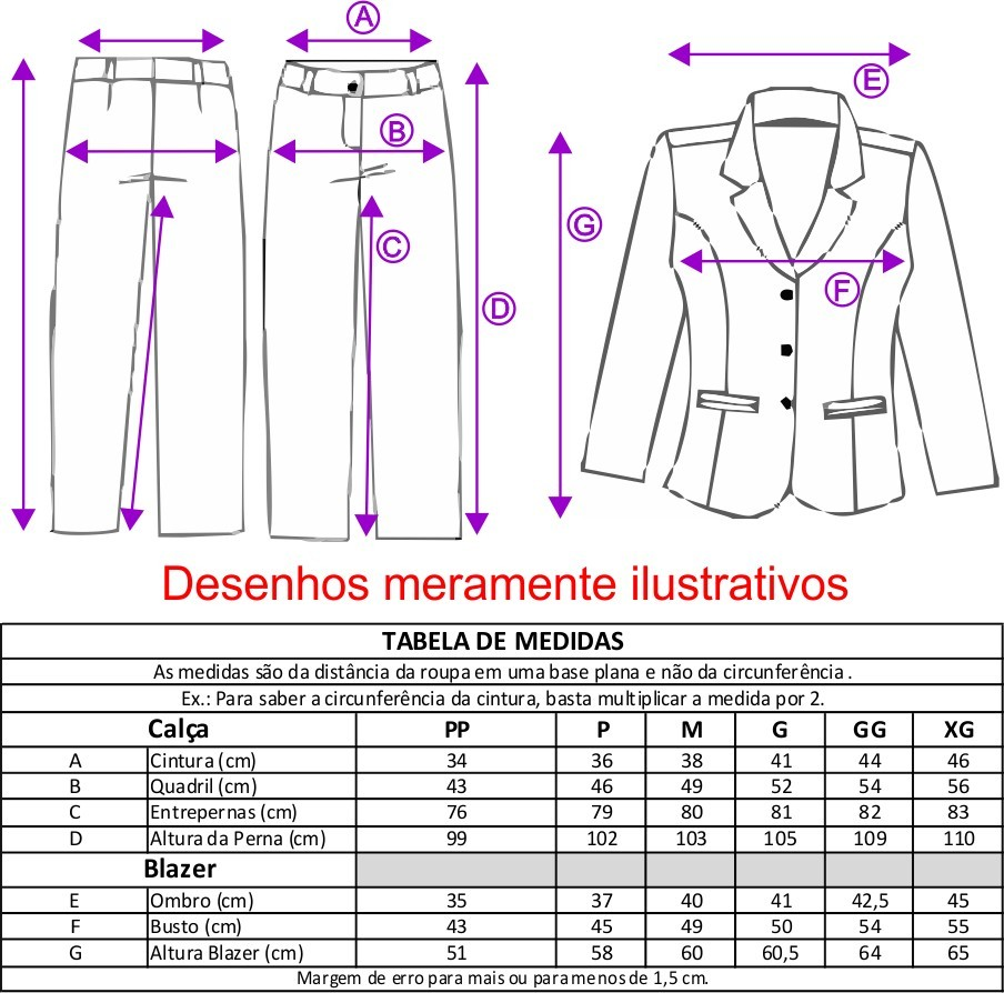Conjunto Feminino Blazer sem forro, 3 botões com Calça - Marinho