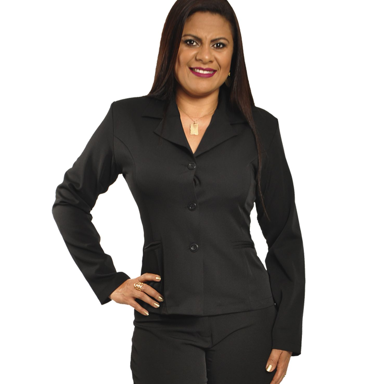 Conjunto Feminino Blazer sem forro, 3 botões com Calça - tamanhos especiais