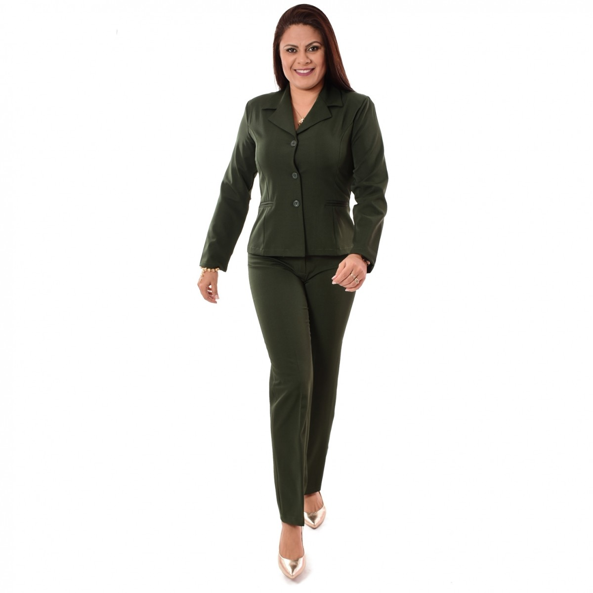 Conjunto Feminino Blazer sem forro, 3 botões com Calça - Verde