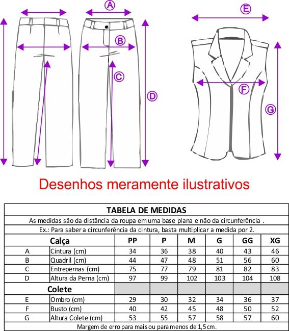 Conjunto Feminino Colete com zíper frontal com Calça - Branco