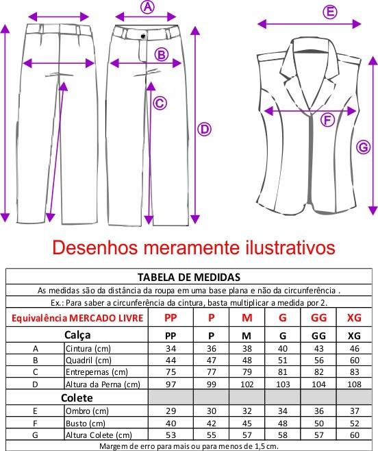 Conjunto Feminino Colete sem forro, zíper frontal com Calça - Preto