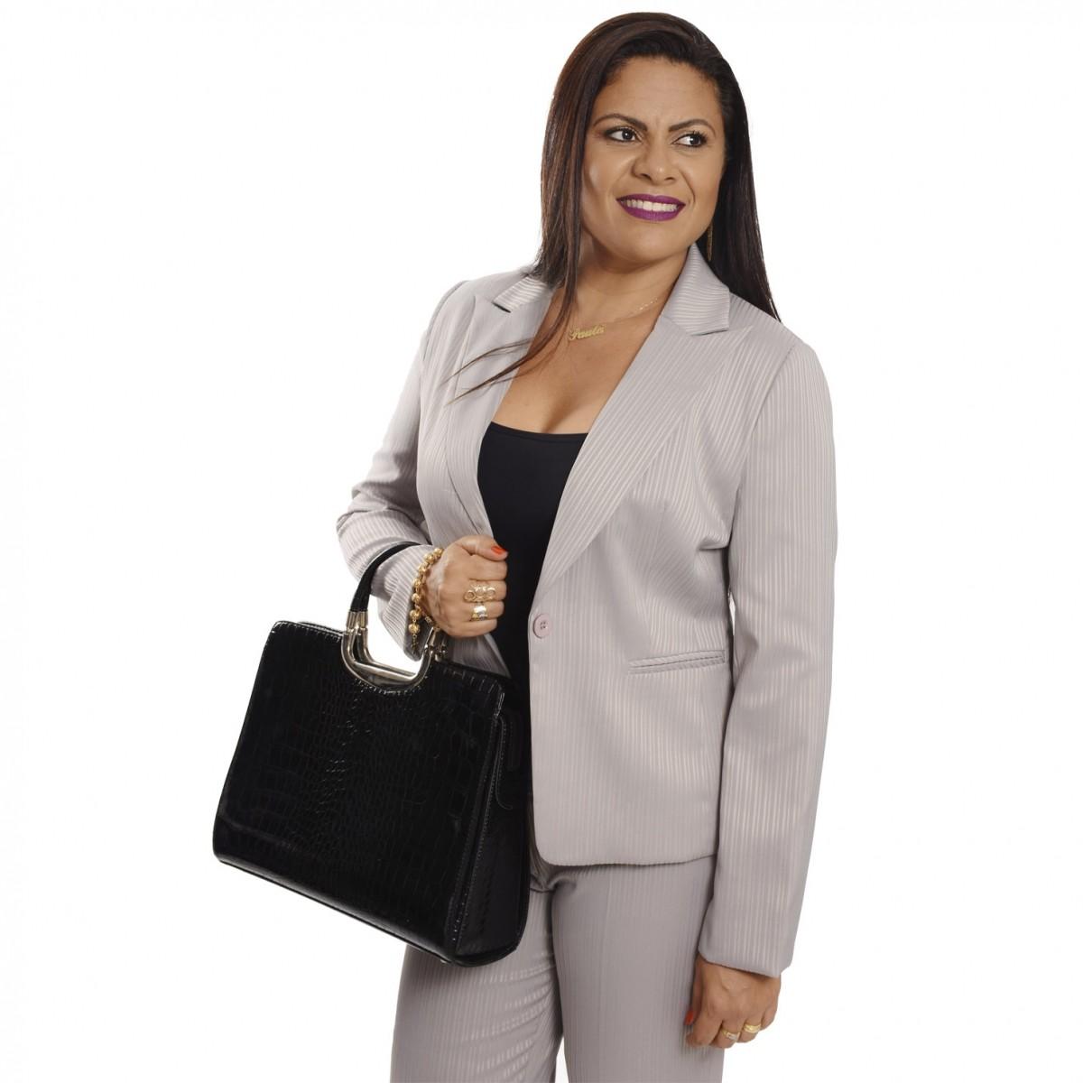 Conjunto Terninho Feminino Blazer com forro, 1 botão, com Calça, maquinetado e acetinado, tamanhos especiais