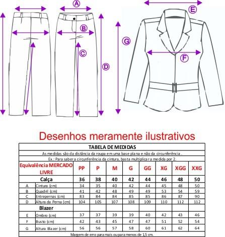 Conjunto Terninho Feminino Blazer com forro, fivela modelo palito com Calça