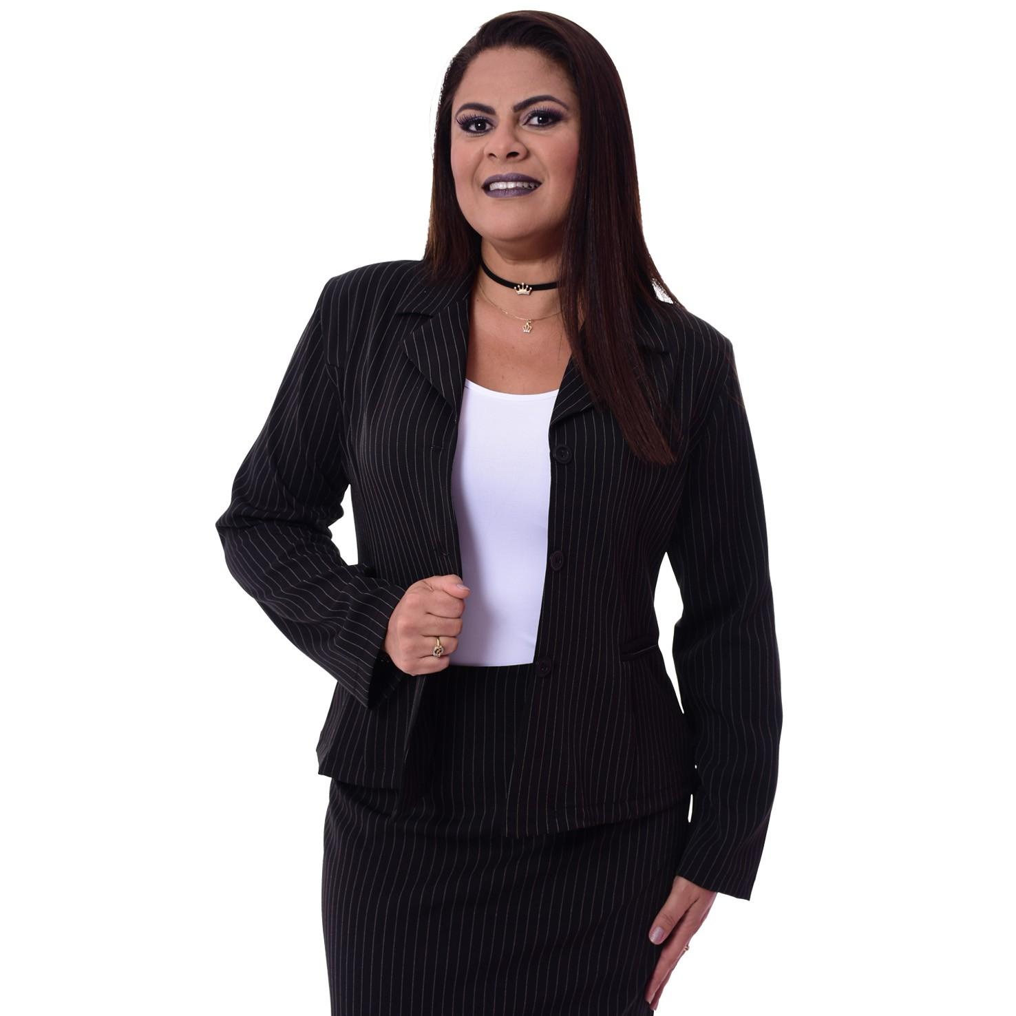 Conjunto Terninho Feminino Blazer sem forro, 3 botões com Saia – Risca de Giz