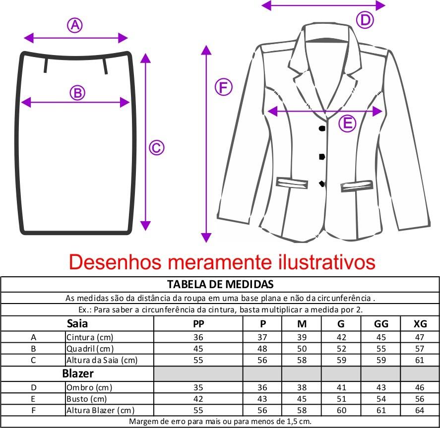 Conjunto Terninho Feminino Blazer sem forro, 3 botões e Saia Reta - Marinho