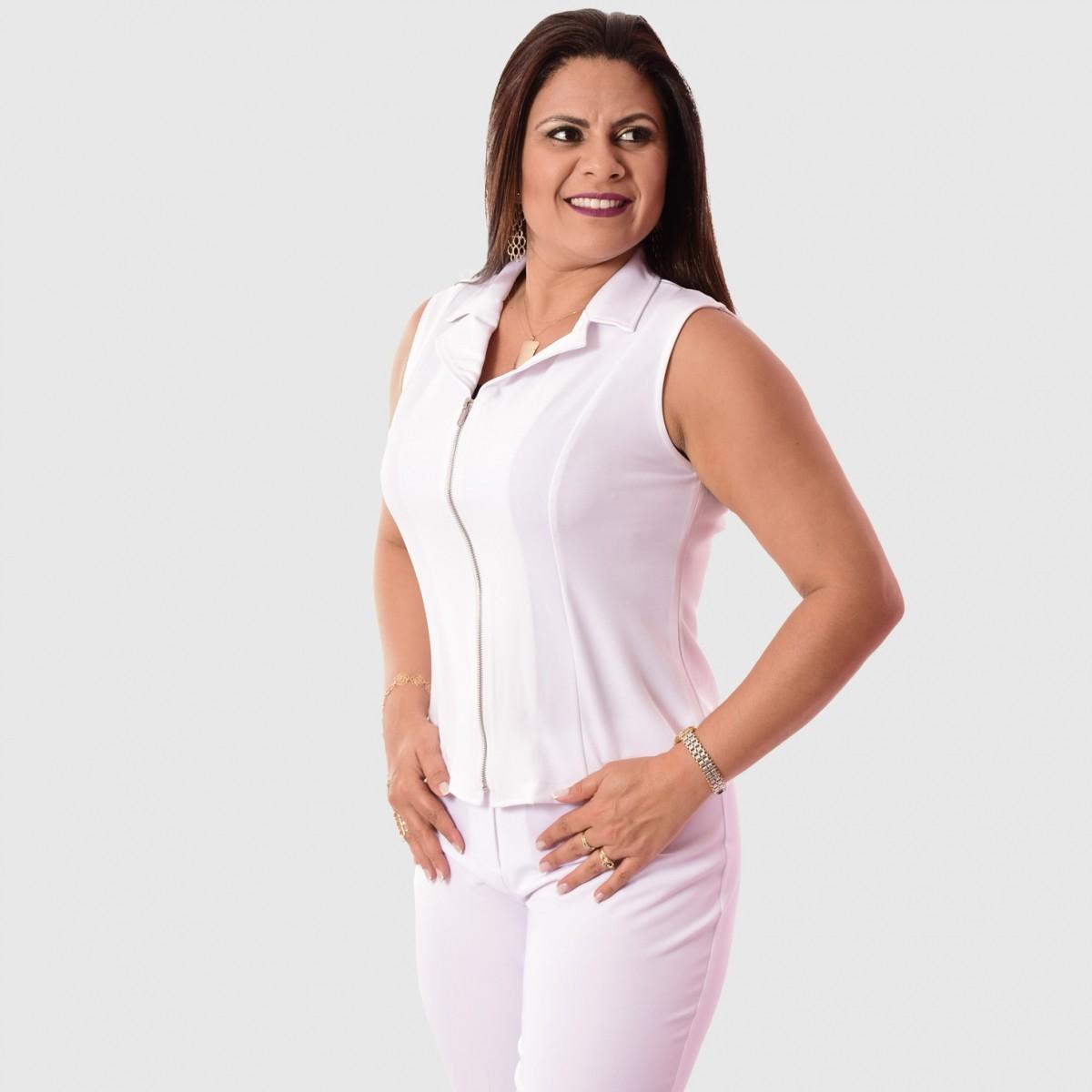Conjunto Terninho Feminino Colete sem forro, zíper frontal com Calça - Cores Diversas