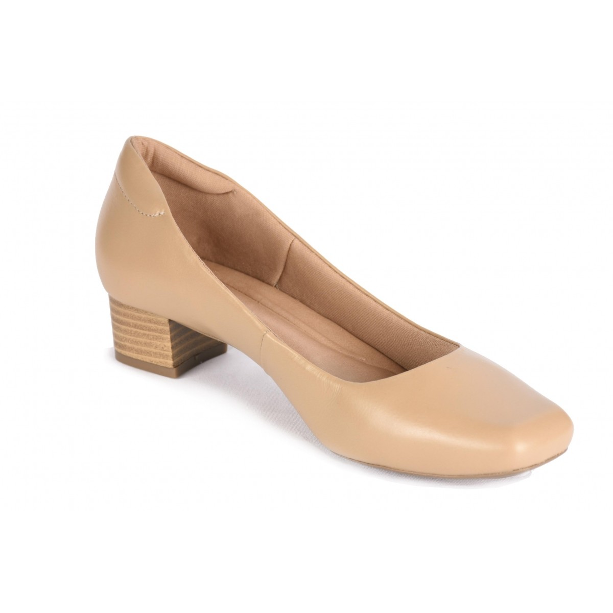 Sapato Neftali Comfort, bico quadrado, cor avelã