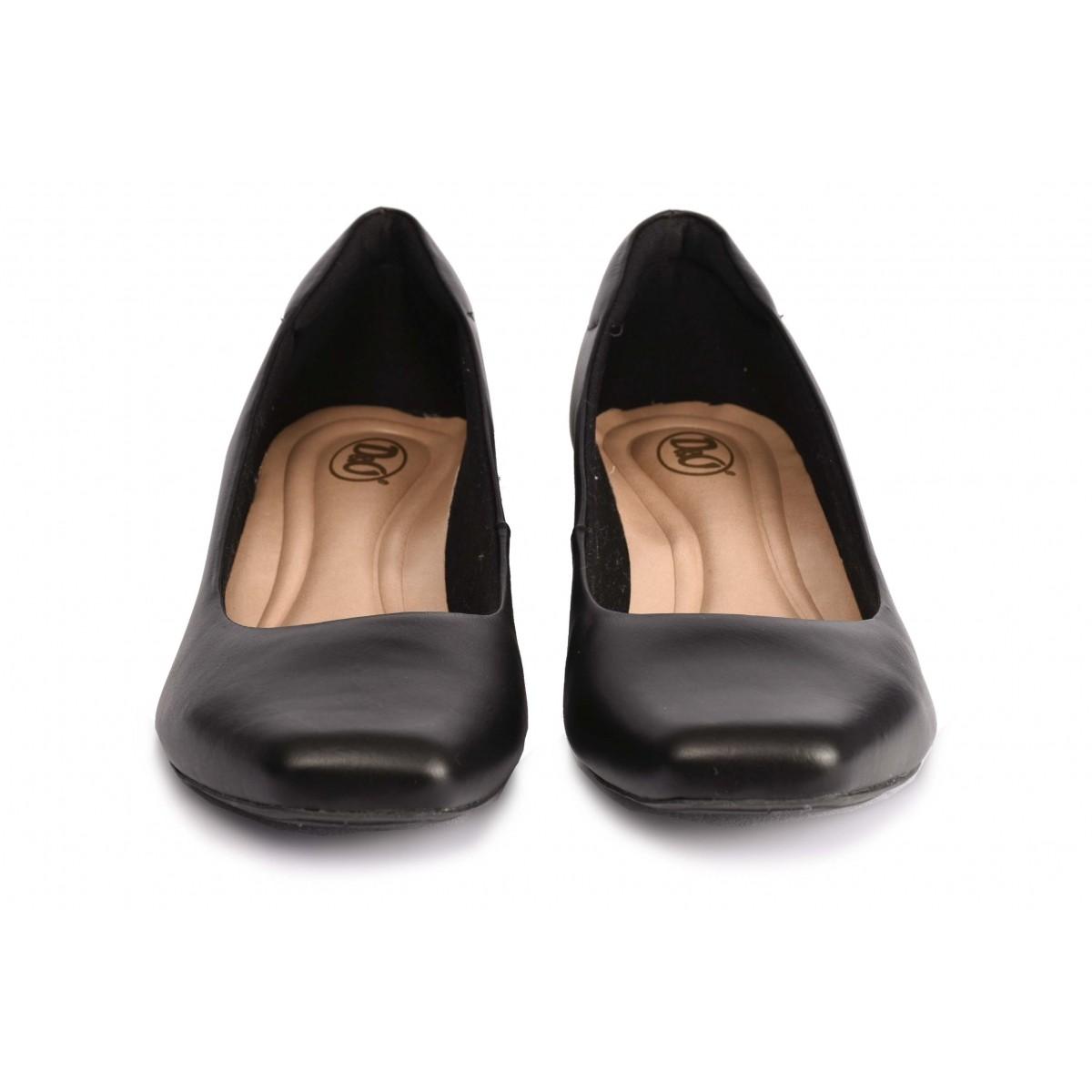 Sapato Neftali Comfort, bico quadrado, preto