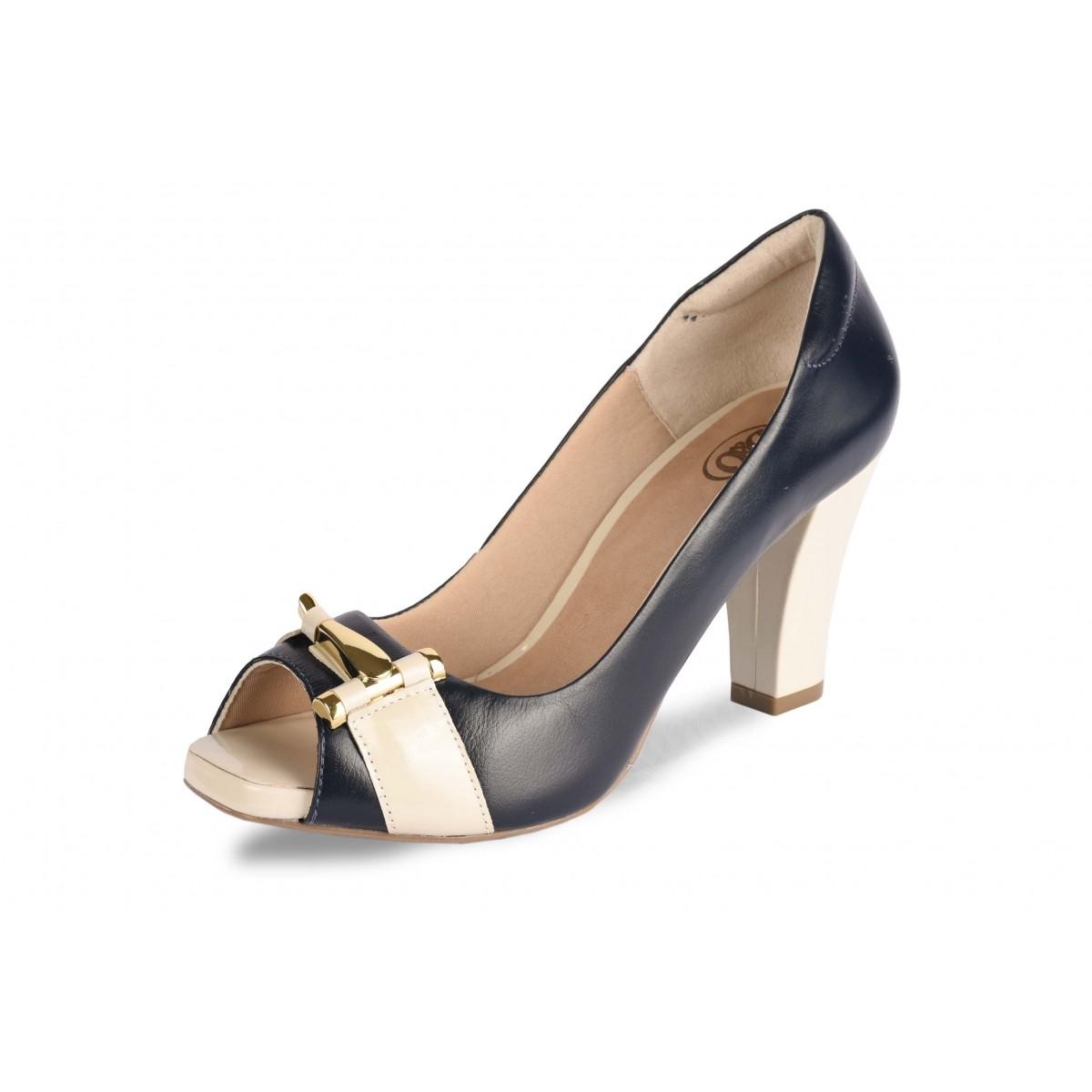 Sapato Neftali Comfort Marinho, peep-toe com fivela dourada