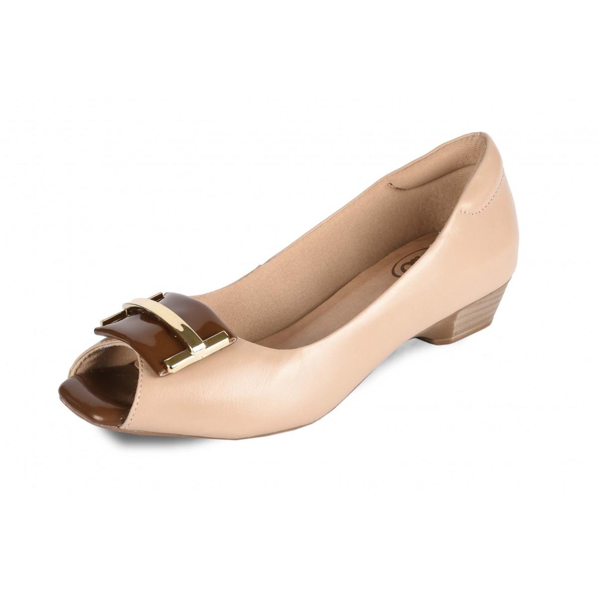 Sapato Neftali Comfort, peep-toe, cappuccino com fivela