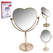 Espelho Dupla Face com Pedestal de Mesa Formato Coração
