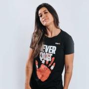 Camiseta Treino Baby Look Feminina Never Quit Cinza Escuro Ultrawod