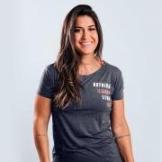 Camiseta Treino Baby Look Feminina Nothing Is Gonna Stop You Cinza Escuro Ultrawod