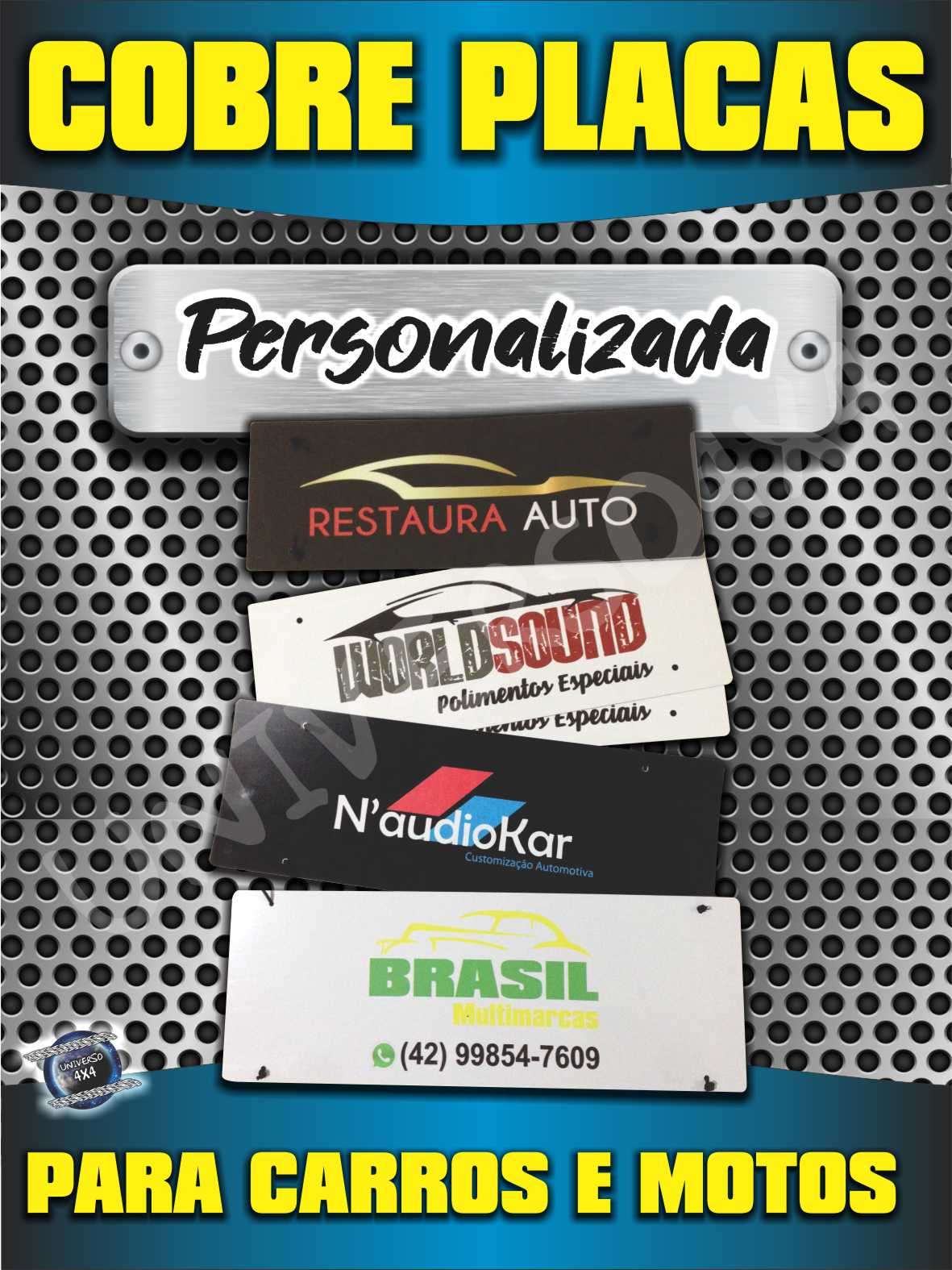 KIT 04 PLACAS COBRE TAMPA PLACA AUTOMOTIVA M-230419