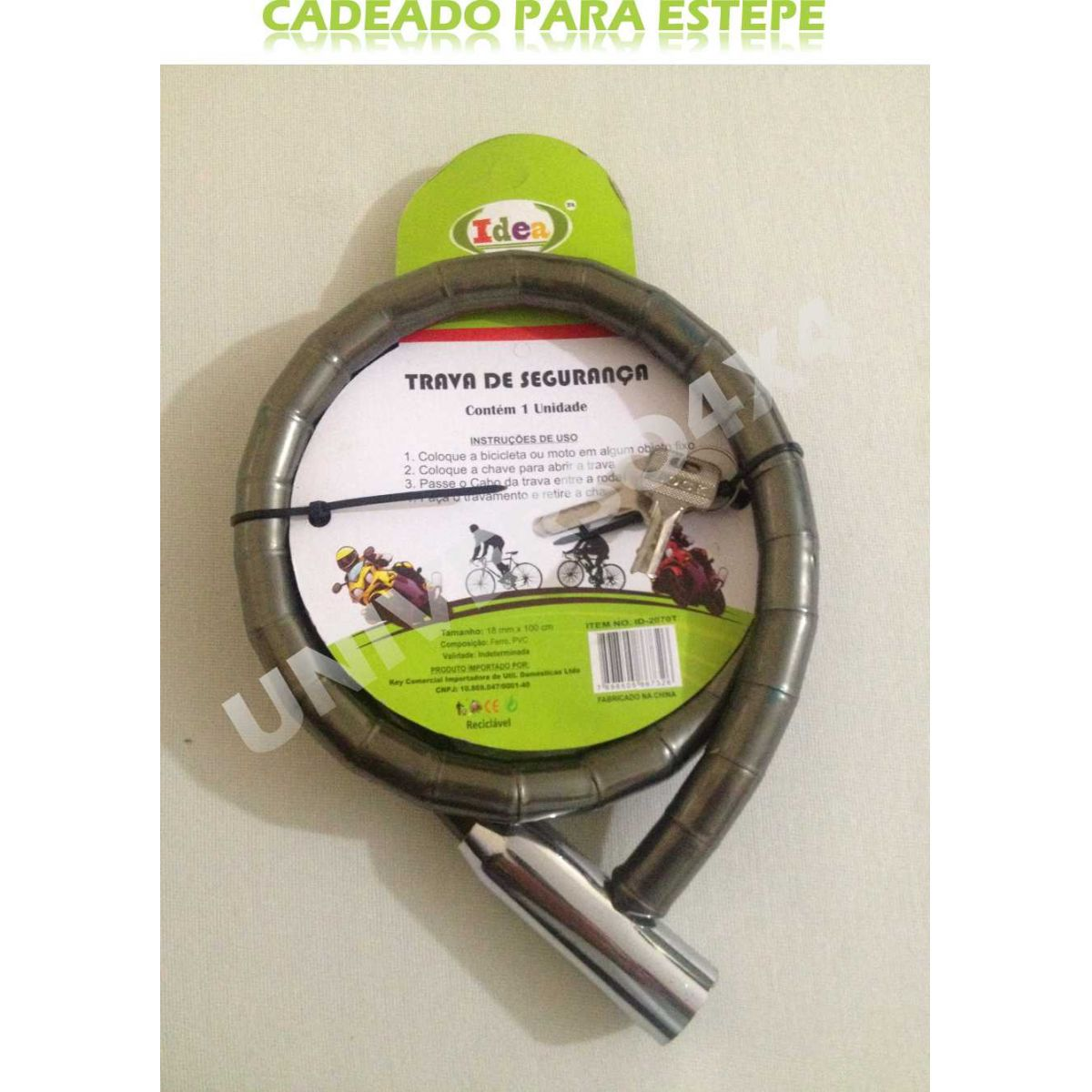 Trava Antifurto Cadeado Estepe 1,0mx18mm - Fumê Idea